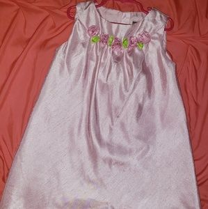 Pink dress with roses on neckline sz 6x